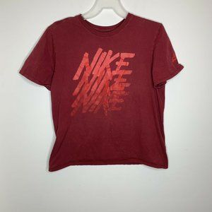 Nike Mens XL Maroon Spellout Graphic Short Sleeve